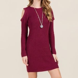 NWT cold shoulder scalloped sweater dress
